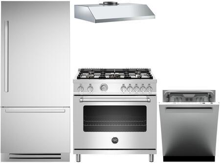 4-Piece Stainless Steel Kitchen Package with REF30PIXR 30 inch  Bottom Freezer Refrigerator  MAS365GASXELP 36 inch  Freestanding Gas Range  KU36PRO1XV 36 inch  Wall Mount