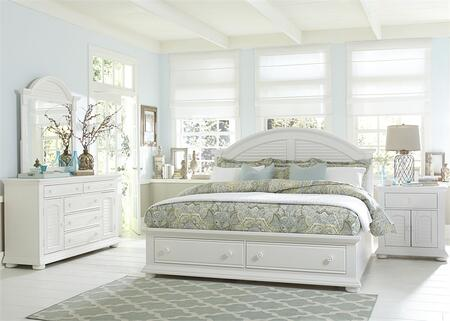 Summer House I Collection 607-BR-KSBDMN 4-Piece Bedroom Set with King Storage Bed  Dresser  Mirror and Night Stand in Oyster White