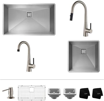 KHU3219272000SS Pax Series 32 inch  and 19 inch  Single Bowl Kitchen Sink with Stainless Steel Construction  Pull-Down Faucet  and Bar Faucet  Stainless