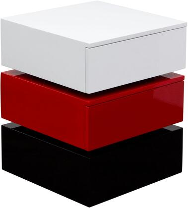 "Spark_SPARKNSRE_18""_Tri-Color_Square_Accent_Table_with_2_Push_Open_Drawers__Soft_Closing_Function_and_a_High_Gloss_Finish_in"