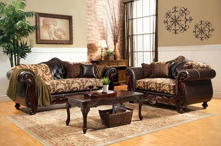 Bonaparte Collection SM6108N-SL 2-Piece Living Room Set with Stationary Sofa and Loveseat in Beige and