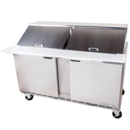 SPE60-24M 60 inch  Two Door Mega Top Refrigerated Salad and Sandwich Prep Table with Stainless Steel Top with Opening for