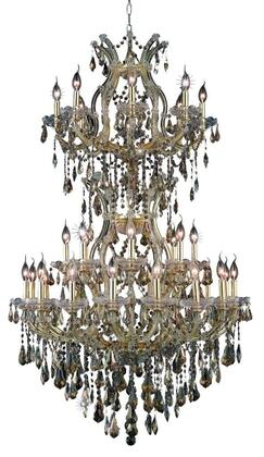 2801D36SG-GT/RC 2801 Maria Theresa Collection Large Hanging Fixture D36in H56in Lt: 32+2 Gold Finish (Royal Cut Golden Teak