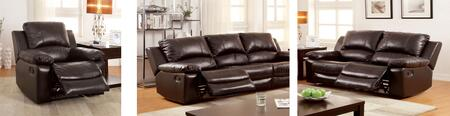 Davenport Collection CM6327-SLR 3-Piece Living Room Set with Motion Sofa  Motion Loveseat and Recliner in Rustic Dark