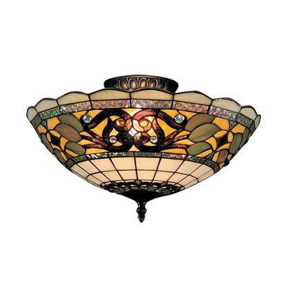 Elk Lighting 941-TB Tiffany Buckingham 3-Light Semi Flush In Vintage Antique /w Tiffany Style Glass (Shipping Included) 941-TB