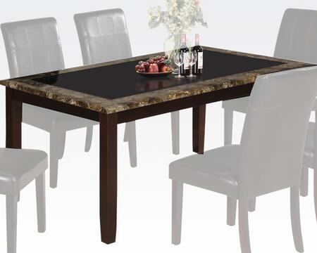 Rolle Collection 71065 64 inch  Dining Table with 7mm Black Tempered Glass Insert  Brown Faux Marble Edge  Tapered Legs and Paper Veneer Construction in Espresso