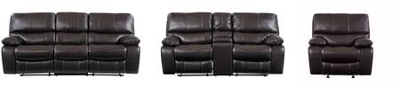 U0040-ESPRESSO-RSCRLSGR 3-Piece Living Room Set with Reclining Sofa  Reclining Loveseat and Recliner in Anges Espresso and
