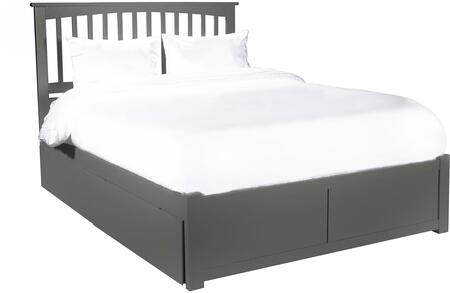 Mission AR8742119 65 inch  Queen Platform Bed with Flat Panel Foot Board and 2 Urban Bed Drawers in Atlantic