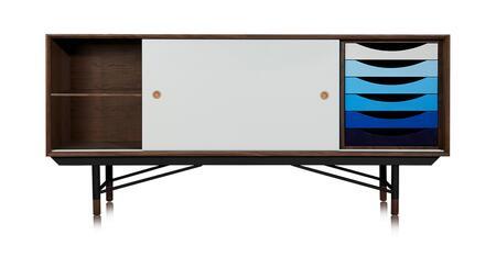 STO-SB-THEORY-WALBLU 1955 Color Theory Mid-Century Modern Sideboard Credenza  Walnut/Blue
