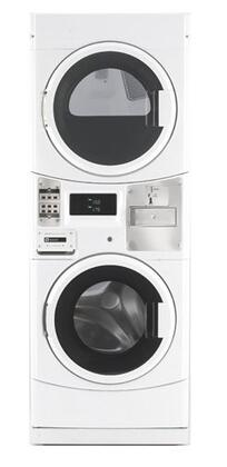 Maytag Commercial Laundry MLG20PDCWW 27 Inch Commercial Gas Laundry Center with 3.1 cu. ft. Washer, 6.7 cu. ft. Dryer, Microprocessor Controls, Coin Drop Ready, Accu Trac Audit System, Super Cycle Feature, TurboVent Dryer Technology, High-Speed Extractio