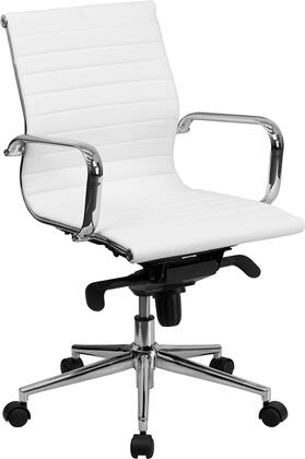 BT-9826M-WH-GG Mid-Back White Ribbed Upholstered Leather Conference
