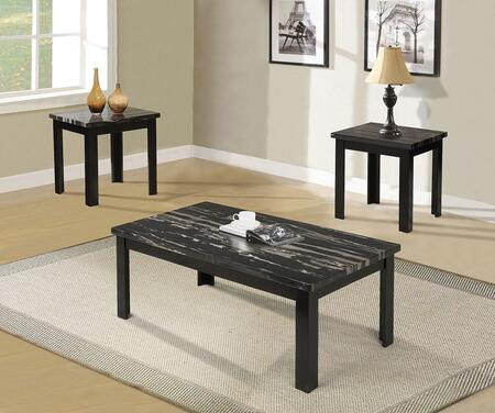 Blythe Collection 80855 3 PC Living Room Table Set with Faux Marble Top  Apron  Rectangular Shape and Medium-Density Fiberboard (MDF) in Black