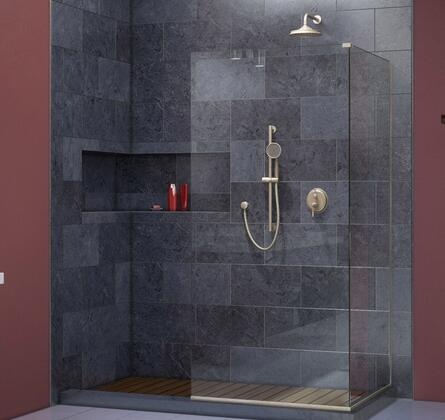 SHDR-3234343-04 Linea Frameless Shower Door. Two Attached Glass Panels: 34 in. x 72 in. Brushed Nickel