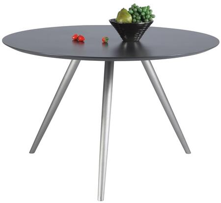 ESTHER-DT ESTHER DINING Grey Wooden Dining Table Top with Brushed Stainless Steel Round Taped