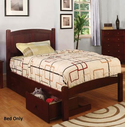 Cara Collection CM7903CH-T-BED Twin Size Platform Bed with Slat Kit Included  Paneled Headboard  Solid Wood and Wood Veneers Construction in Cherry