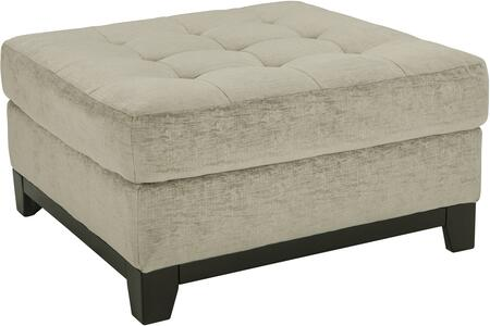 "Beckendorf Collection 1500408 36"""" Oversized Accent Ottoman with Tapered Legs  Tufted Seat  Square Shape and Fabric Upholstery in Chalk"" 801095"