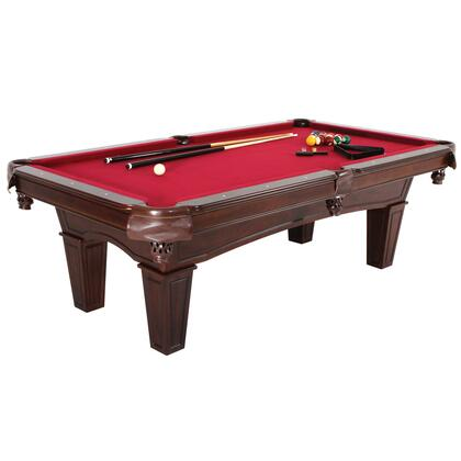 MFT901-TBL 7.5'Fullerton Burgundy Billiard/Pool Table with Triangle Rack  2 Chalks  Ball Set  Brush and 2 One-piece