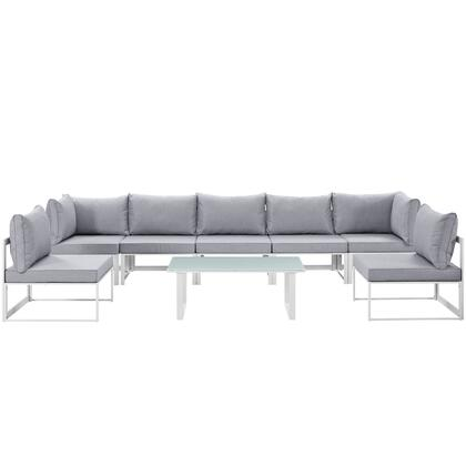 Fortuna Collection EEI-1730-WHI-GRY-SET 8 PC Outdoor Patio Sectional Sofa Set with 2 Corner Chairs  5 Armless Chairs  Tempered Glass Top Coffee Table  Powder