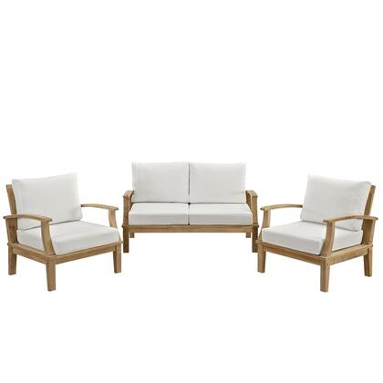 Marina Collection EEI-1470-NAT-WHI-SET 3 PC Outdoor Patio Sofa Set with White Cushions  Teak Wood Construction  Water and UV Resistant in Natural Fine Sanded