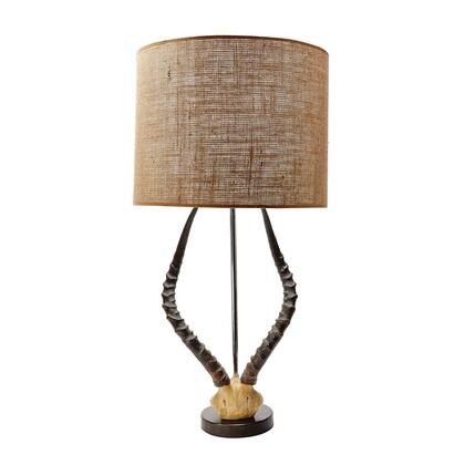 225092 Faux Horn Table Lamp In Brown with Burlap