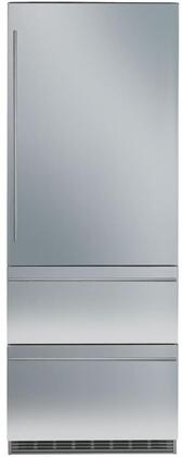 """30""""_Bottom_Freezer_Refrigerator_with_80""""_Height_Door_Panels_and_Tubular_Handles_in_Stainless"""
