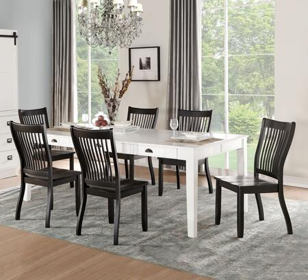Renske Collection 718507SET 7 PC Dining Room Set with Rectangular Shape Dining Table and 6 Side Chairs in Antique White and Black