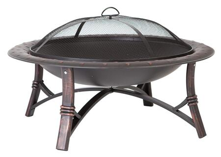 60857 Roman Fire Pit with 35 High Temp Antique Bronze Painted Steel Fire Bowl  Hammered Lip and Brushed Painted Steel