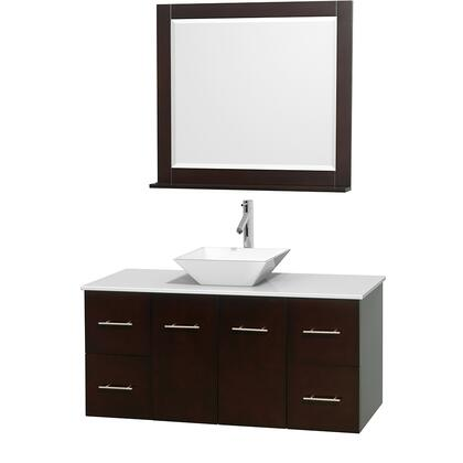 WCVW00948SESWSD2WM36 48 in. Single Bathroom Vanity in Espresso  White Man-Made Stone Countertop  Pyra White Porcelain Sink  and 36 in.