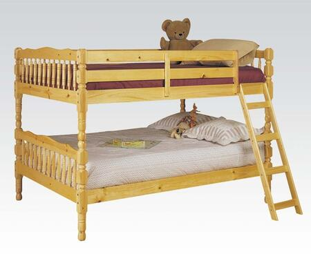 Homestead Collection 02290 Full Over Full Bunk Bed with Sturdy Built-In Ladder  Guard Rails  Vertical Slats  Cannonball Turned Posts and Pine Wood Construction