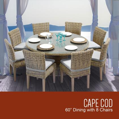 Capecod-60-kit-8c-grey Cape Cod Vintage Stone 60 Inch Outdoor Patio Dining Table With 8 Armless Chairs With 2 Covers: Beige And