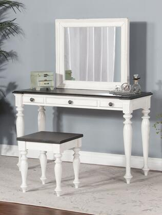 Carriage House Collection K2308EC-V 3-Piece Vanity Set with Vanity  Mirror  Stool  3 Drawers  Decorative Hardware and Elegant Turned Legs in European