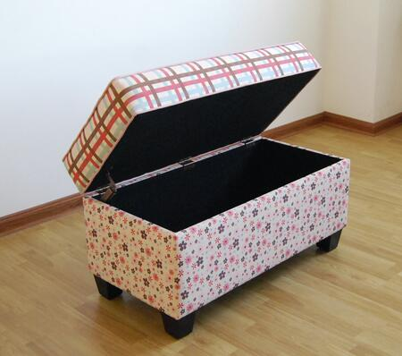 K4110-A353+A354+A363 Storage Bench/Plaid and Floral Plaid and Floral