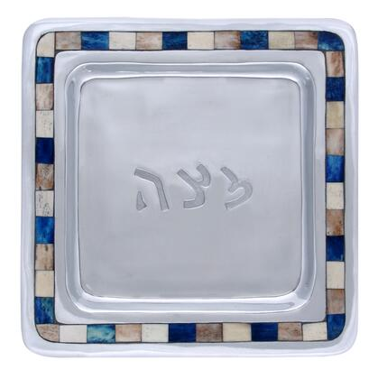 MT-703 10 inch  x 10 inch  Handmade Square Passover Matzah Tray with  Aluminum Frame  Center Inscription and Decorative Colored