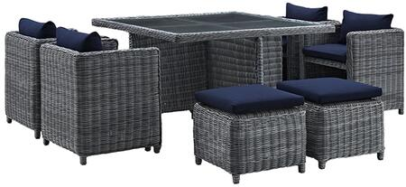 Summon Collection EEI-1947-GRY-NAV-SET 9-Piece Outdoor Patio Sunbrella  Dining Set with Square Glass Top Table  4 Chairs and 4 Stools in Canvas Navy
