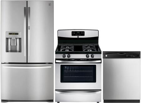 4-Piece Stainless Steel Kitchen Package with 73063 French Door Refrigerator  74033 Freestanding Gas Range  80323 Over-the-Range Microwave and 17383