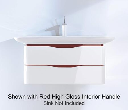 PuraVida PV676708570 32 inch  x 18 inch  Wall Mounted Vanity with Recessed Grip  2 Drawers and Rounded Corners in White High Gloss Finish with Aluminum Interior