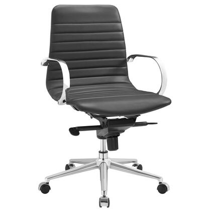 Groove Collection EEI-2859-GRY Office Chair with Swivel Seat  Adjustable Height  Ergonomic Ribbed Sling Back Design  Tension Control Knob  Chrome-Plated