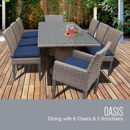 Oasis-rectangle-kit-6adc2dcc-navy Oasis Rectangular Outdoor Patio Dining Table With 6 Armless Chairs And 2 Chairs W/ Arms With 2 Covers: Grey And