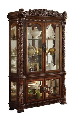 Vendome Collection 62023 53 inch  Curio Cabinet with 4 Glass Doors  3 Glass Shelves  Touch Light  Back Mirror and Wood Carving in Cherry