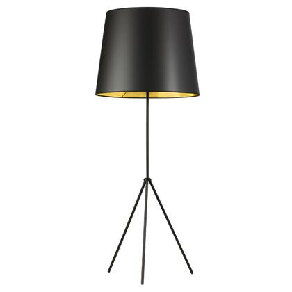 OD4L-F-698-MB 1 Light 3 Leg Oversize Drum Floor Lamp With Black On Gold Shade  Matte Black