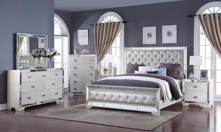 Gloria Collection GLORIA QUEEN BED SET 6-Piece Bedroom Set with Queen Size Bed  Dresser  Mirror  Chest and 2 Nightstands in
