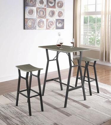 182171 3-Piece Bar Table Set with Rectangular Bar Table and 2 Bar Stools in Rustic Grey and Dark