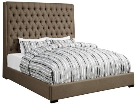 Camille Collection 300721KE King Size Bed with Extra Tall Button Tufted Headboard  Low Profile  Cappuccino Solid Wood Legs and Fabric Upholstery in Brown