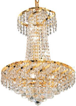 VECA1D18G/SS Belenus Collection Pendant Ceiling Light D:18In H:22In Lt:6 Gold Finish (Swarovski   Elements