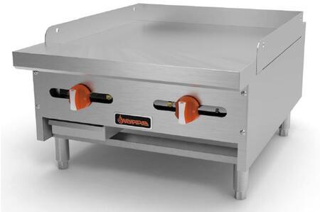 SRMG24 Manual Griddles with 2 Burners  23000 BTU per Burner  46000 Total BTU  in Stainless