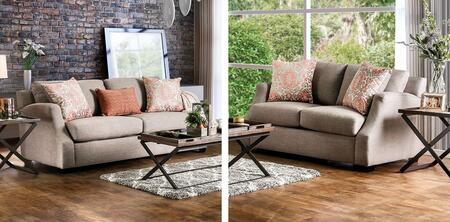 Beltran Collection SM3058-SL 2-Piece Living Room Set with Stationary Sofa and Loveseat in Light