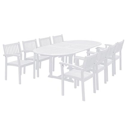 Bradley Collection V1335SET24 9-Piece Outdoor Patio Dining Set with Oval Extension Table and 8 Stacking Chairs in