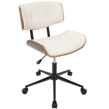 OC-JY-LMB WL+CR Lombardi Height Adjustable Office Mid-century Modern Chair with Swivel in Walnut and