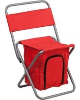 TY1262-RED-EMB-GG Embroidered Folding Camping Chair with Insulated Storage in