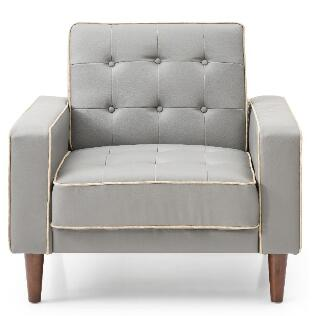Navi Collection G832A-C 43 inch  Sleeper Chair with Tapered Wood Legs  Track Arms  Button Tufted Cushions  Heavy Duty Springs and Faux Leather Upholstery in Grey